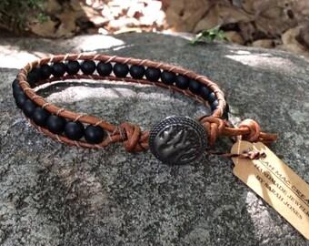 Black Matte Leather Bracelet
