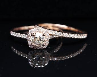Old European Cut Diamond Halo Engagement Ring & Wedding Band Bridal Set 14k Rose Gold Eco Friendly Vintage Inspired