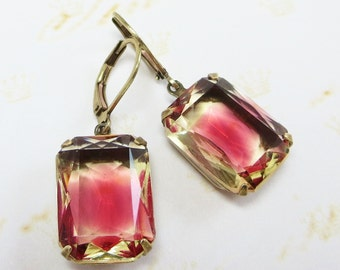 Ruby Red Jonquil Glass Earrings Dangles Rhinestone Estate Style