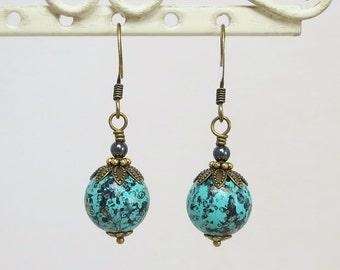 Turquoise Black Gold Earrings Ear Dangles Vintage Beads