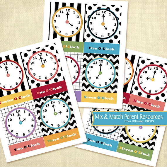 Instant Download Flash Cards Clock Flashcards Parent