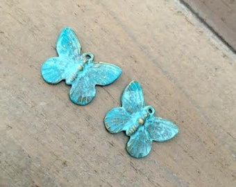 2 Butterfly Charms, Verdigris Patina Butterflies, Teal Patina Charms, Nature, Ships quick USA