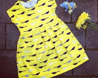 Sunshine Dress in Birdie Yellow, sizes 1 to 6 girls, cotton jersey stretch fabric