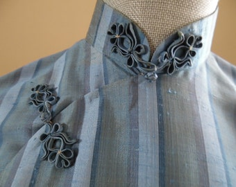 Vintage 1970s Custom-tailored lovely blue striped Silk Cheongsam Midi-Length Asian Wiggle Dress with matching shawl.