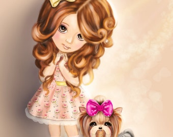Custom art of little girl and pets on Fine Art Paper 11x14 inches