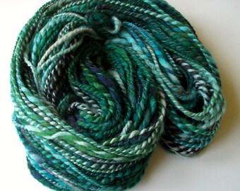 Handspun Shetland wool yarn,  hand dyed wool yarn, art yarn,  handspun handdyed bulky yarn, 103+ yds.6.4 oz. 182 g.