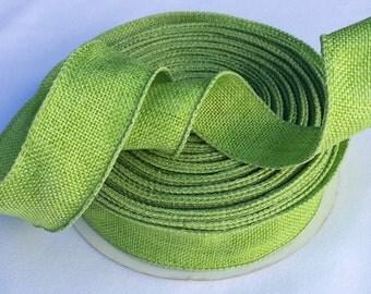 "Offray green burlap like rustic ribbon 10 yards, 1.5"" wide, Offray wired burlap like ribbon,"