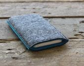 100% Wool Felt iPhone Sleeve/Case/Cover - Mottled Dark Grey and Dark Turquoise