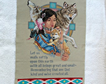 Indian Maid and Dogs    Needle Work Handmade