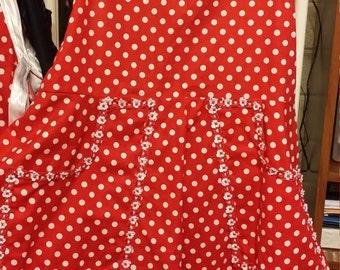 Retro style red and white polka dot apron