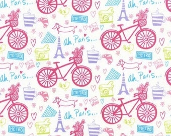 1 Yard Pink Bicycles on White with Eiffel Tower and Script 'Ah Paris' Timeless Treasures Fabric