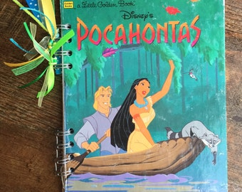 Disney Pocahontas - Journal Autograph Book - Upcycled Little Golden Book - Recycled Notebook - Upcycled Journal