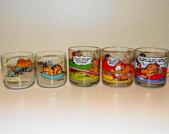 Vintage 1978 McDonald's Garfield and Odie - Hard to Find- 2 Drinking Glasses and  3 Mugs/Cups Set of 5