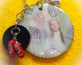 Over the rainbow, wizard of oz jewelry, wizard of oz necklace, wizard of oz, wizard of oz pendant, oz, dorothy, ruby slippers