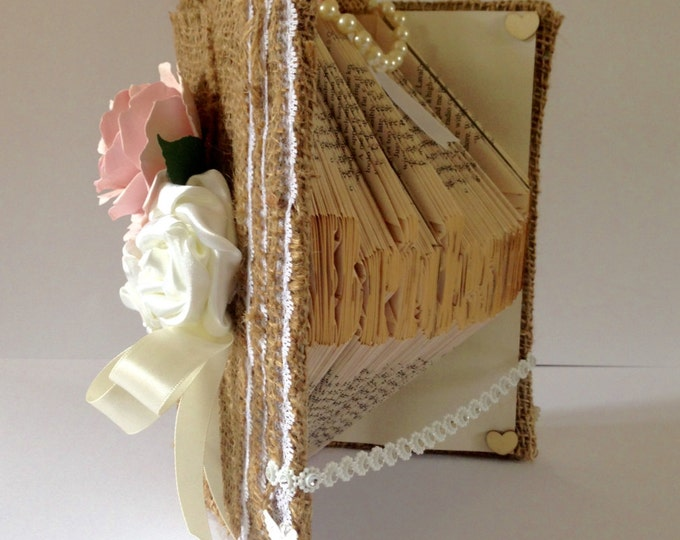 Rose Rustic ,Bridesmaid Book Folding Art, Bridesmaid Gift, Wedding Decoration, Rustic Wedding, Best Bridesmaid