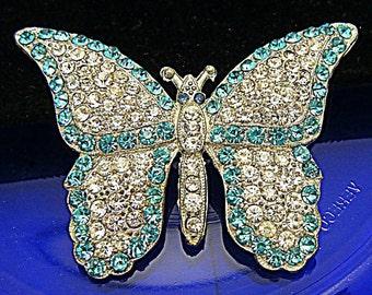 Art Deco Rhinestone Butterfly Brooch Pot Metal Super Sparkly Aqua Clear