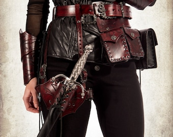 Rogue leather belt for LARP, action roleplaying and cosplay