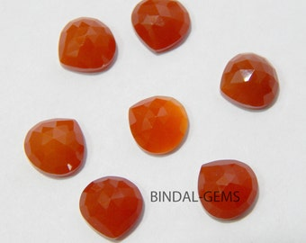 Amazing Wholesale Lot 15 Pcs Red Onyx Heart Shape Rose Cut Gemstone For Jewelry