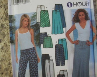 Simplicity 7229 Misses (Size HH 6,8,10,12) drawstring skirts and pants each in 3 lengths.  1 hour