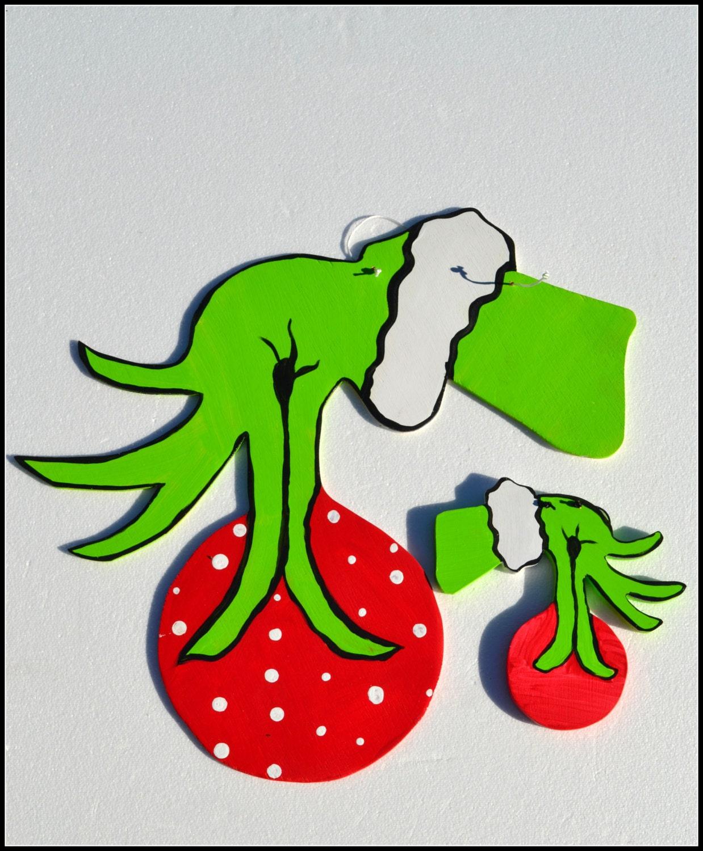 Christmas Grinch Ornament Grinch Hand Ornament By Pricklypaw