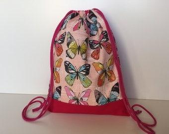 Cinch Bag 'Butterflies' rose-pink