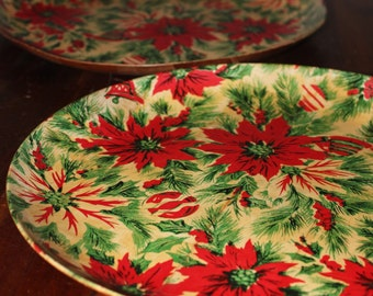 Pair of Vintage Wood Poinsettia Serving Trays w/Ornaments & Holly, 1960's, Holiday, Winter, Christmas, Kitsch, Kitchen, Serving, Platter