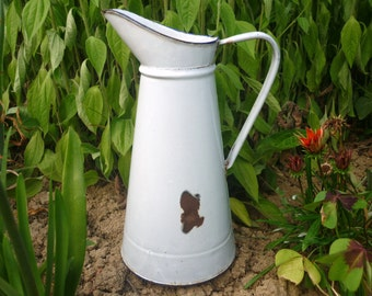 French forties 40's white enamel jug/pitcher/ewer