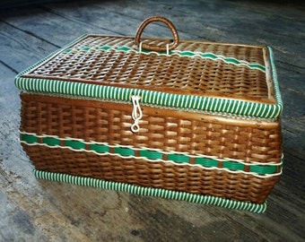 wicker woven sewing basket with satin lining