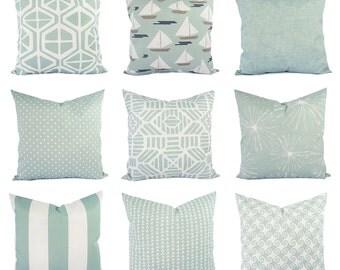 Light Blue Pillow Cover - Outdoor Throw Pillow - Decorative Pillows - Soft Blue Pillows - Patio Pillows - Blue Pillows - Custom Pillow Sham