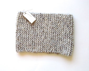 Warm & cozy cowl knit wool blend infinity scarf [heathered grey/cream]