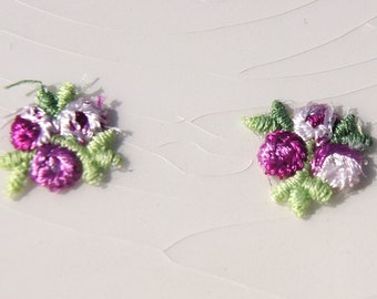 Vintage Flower Applique, Iron On Purple White Flower Embroidery Applique, Vintage Embroidered Applique Flower #1287