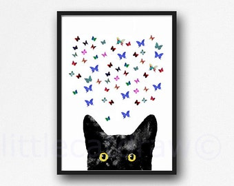 Peeking Black Cat with Golden Eyes Butterflies Edition Cat with Butterflies Watercolor Painting Cat Art Print Watercolor