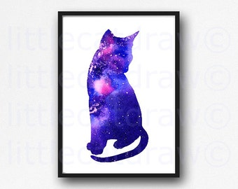 Galaxy Cat Sitting Cat Print Fantasy Print Geek Dorm Wall Decor Cat Watercolor Painting Print Watercolour Wall Art
