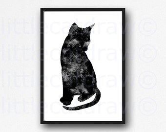 Sitting Pretty Black Cat Print WATERCOLOR Cat Art Black Cat Watercolor Painting Print Cat Watercolour Wall Art Watercolor Unframed