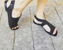 Sale 30%, Leather sandals, Womens sandals, Black sandals, Woman flat, Slingbacks, Flat sandals, Comfortable women shoes, Pointy flats