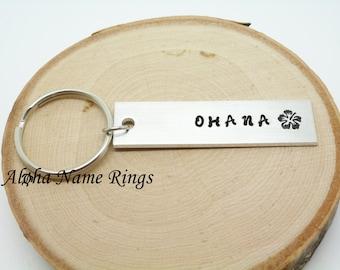 OHANA - Custom Hand Stamped Aluminum Key Chain. Hawaiian Hibiscus Flower