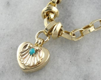 Retro Era, Vintage Link Bracelet with Turquoise Heart Charm, Scallop Motif  TE097W-D