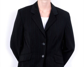 Caren Pfleger Womens 40 Top Suit Blazer Black Striped