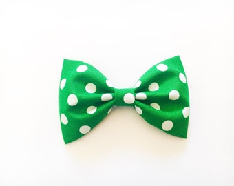 Green and white polka dot bow hair bow bow tie