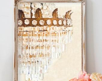 Crystal Chandelier:  Elegant Shabby Chic Watercolor Art Print, Cottage Home Decor, Feminine Living Room Bedroom Bathroom Wall Art
