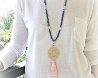 Blue long beaded necklace with gold plated filigree pentant and pink tassel - Summer necklace - Blue beaded necklace - Pink tassel necklace