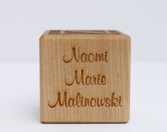 Laser Engraved Personalized Baby Birth Block