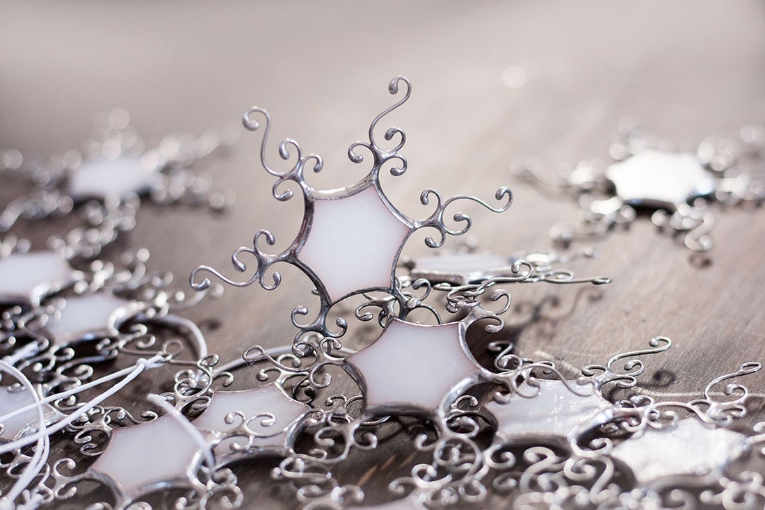 Snowflakes ornaments - Snowflake Winter Ornaments White Stained Glass Snowflakes Christmas Ornaments Winter Wedding Decor