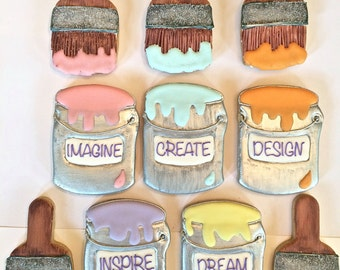 Paint can & Paint Brush Sugar Cookies
