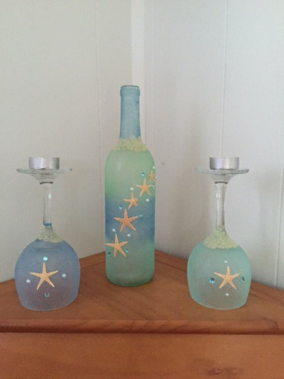 Beach decor wine bottle decor starfish decor starfish for Beach wine glass candle holders