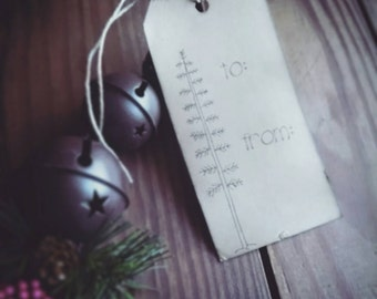 Tall Twig Tree, hand stamped gift tags, set of 12 Christmas Gift Tags