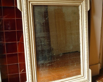 Painted Antique French Mirror with Crest