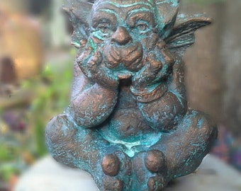 Winged sitting gargoyle cast in cement with bronze finish garden statue