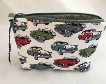 Vintage Automobiles Zipper Gadget Bag, Makeup Bag, Toiletry Bag, Jewelery Bag, Clutch Bag
