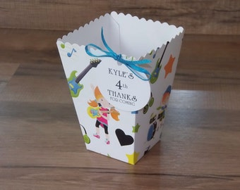 Boy and Girl Rockstar Favor Boxes, Personalized Candy Buffet Box, Birthday Party, American Idol